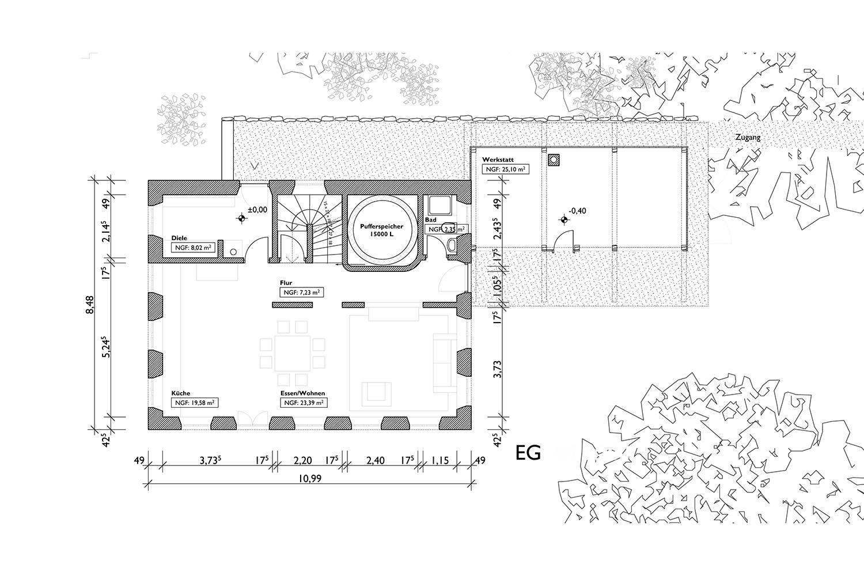 G 100-01 Lageplan, Grundrisse,
